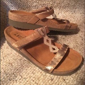NAOT Bronze Leather & Suede Slide Sandals